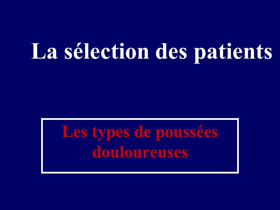 La sélection des patients Les types de poussées douloureuses