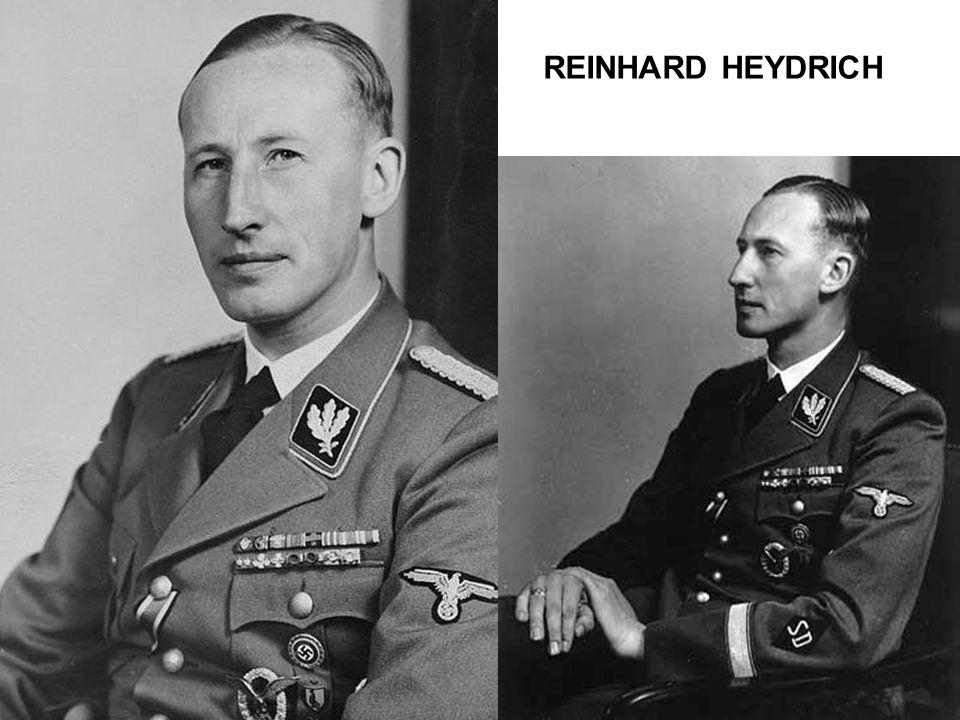 •Fils du directeur du conservatoire de musique de la ville de Halle et d'une professeure de piano •Né en 1904 •La guerre et la défaite de 1918 appauvrissent sa famille •S'engage à 18 ans dans la Reichsmarine, devient officier avant d'être rayé des cadres pour une affaire de mœurs •Marié, 4 enfants •Entre au parti nazi, dans la SS et fonde le SD •devient n° 2 du Reichssicherheitshauptamt (RSHA) auprès de Heinrich Himmler qui le déteste •Heydrich aime le pourvoir, et se montre brillant organisateur •Organisateur des einsatzgruppen, de la conférence de Wannsee, puis dirigeant de la Tchécoslovaquie occupée •Assassiné en 1942 par un commando de résistants Tchèques
