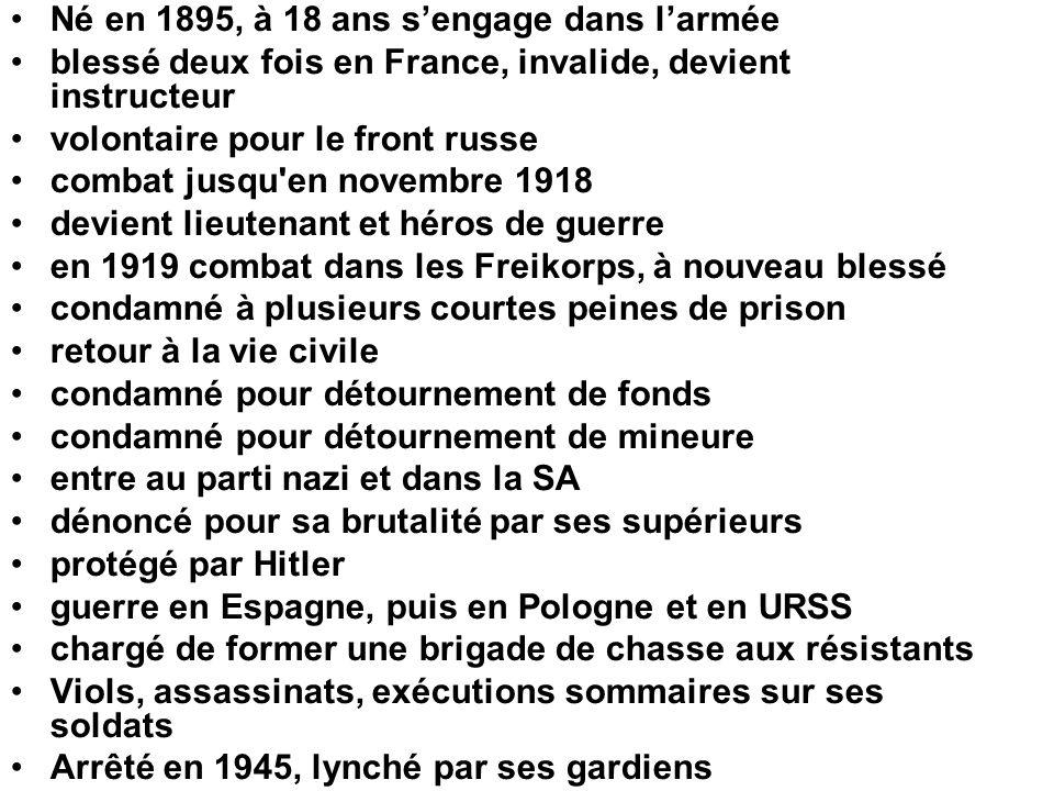 •Né en 1895, à 18 ans s'engage dans l'armée •blessé deux fois en France, invalide, devient instructeur •volontaire pour le front russe •combat jusqu'e
