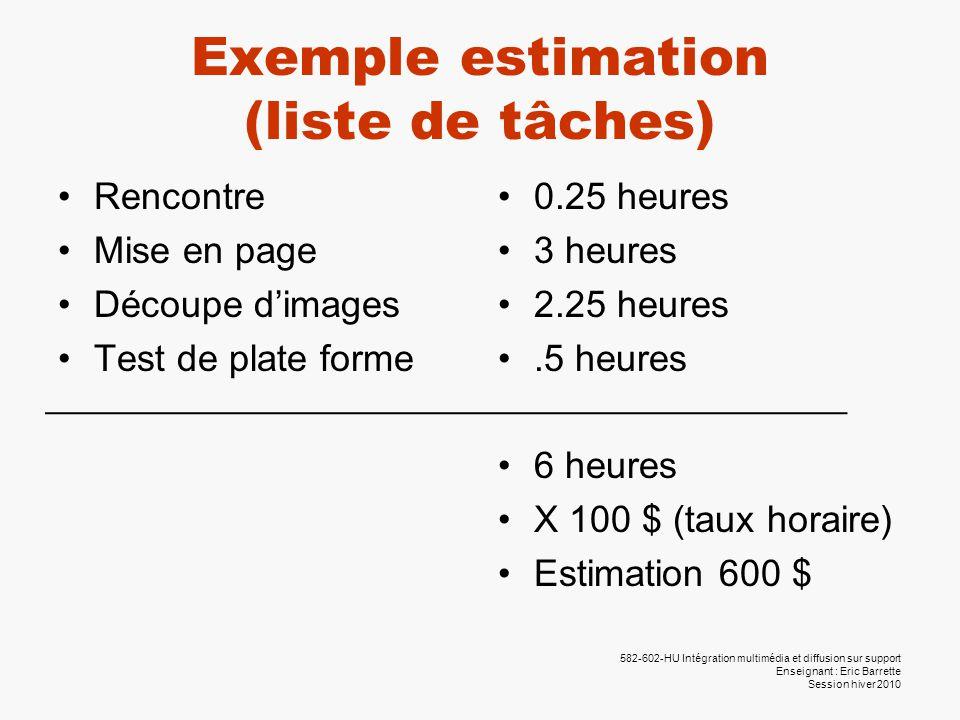 582-602-HU Intégration multimédia et diffusion sur support Enseignant : Eric Barrette Session hiver 2010 Exemple estimation (liste de tâches) •Rencont