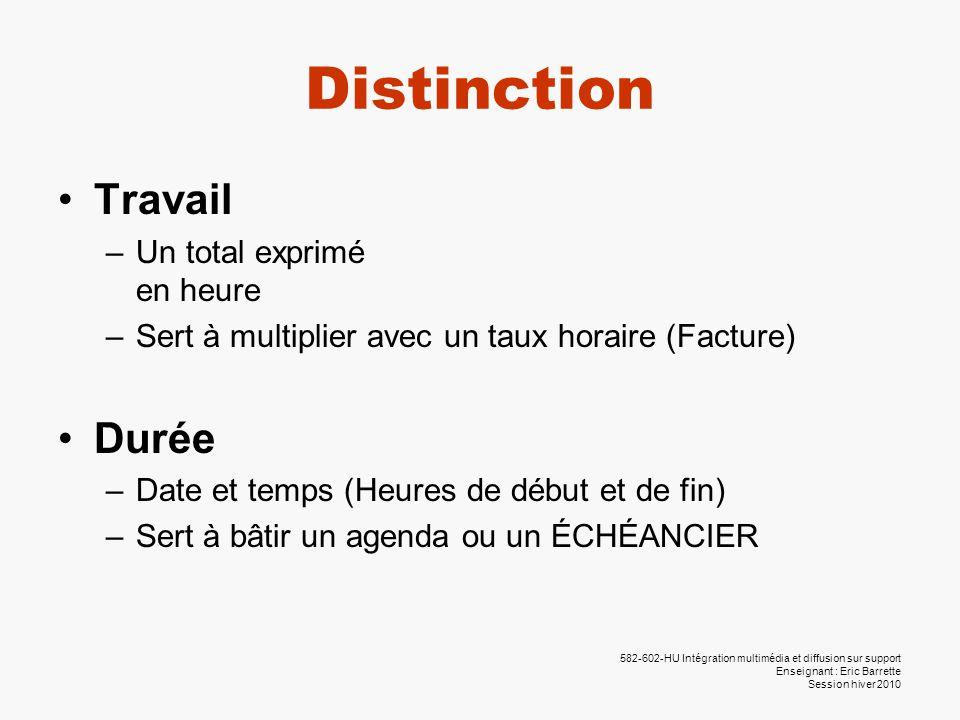 582-602-HU Intégration multimédia et diffusion sur support Enseignant : Eric Barrette Session hiver 2010 Distinction •Travail –Un total exprimé en heu