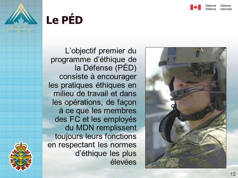 12 Le PÉD L'objectif premier du programme d'éthique de la Défense (PÉD) consiste à encourager les pratiques éthiques en milieu de travail et dans les opérations, de façon à ce que les membres des FC et les employés du MDN remplissent toujours leurs fonctions en respectant les normes d'éthique les plus élevées