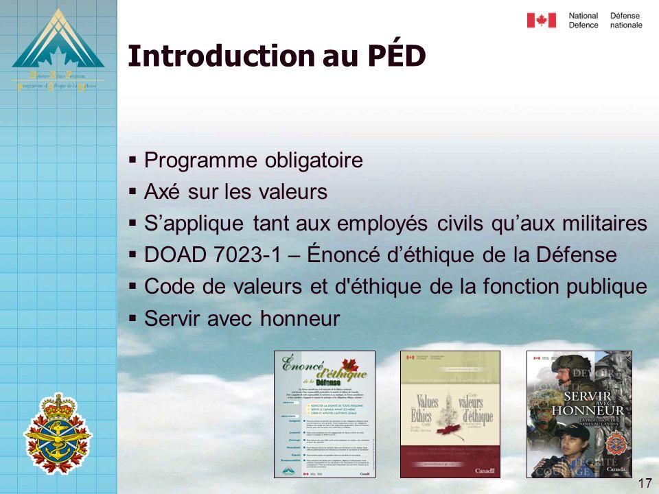 17 Introduction au PÉD  Programme obligatoire  Axé sur les valeurs  S'applique tant aux employés civils qu'aux militaires  DOAD 7023-1 – Énoncé d'