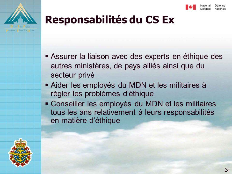 24 Responsabilités du CS Ex  Assurer la liaison avec des experts en éthique des autres ministères, de pays alliés ainsi que du secteur privé  Aider