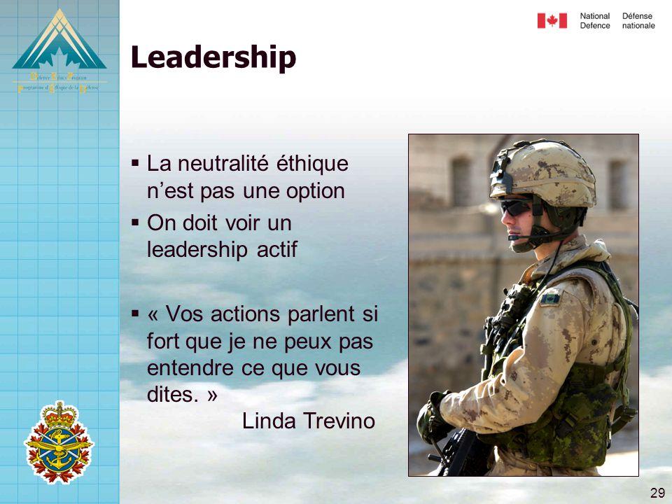 29 Leadership  La neutralité éthique n'est pas une option  On doit voir un leadership actif  « Vos actions parlent si fort que je ne peux pas enten