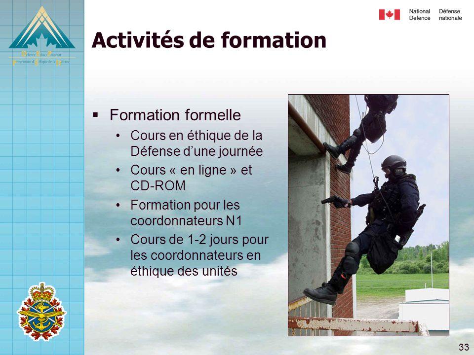 33 Activités de formation  Formation formelle •Cours en éthique de la Défense d'une journée •Cours « en ligne » et CD-ROM •Formation pour les coordonnateurs N1 •Cours de 1-2 jours pour les coordonnateurs en éthique des unités