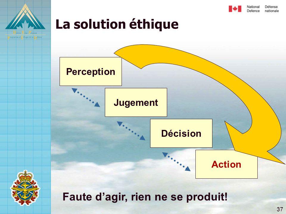 37 La solution éthique Jugement Action Décision Perception Faute d'agir, rien ne se produit!