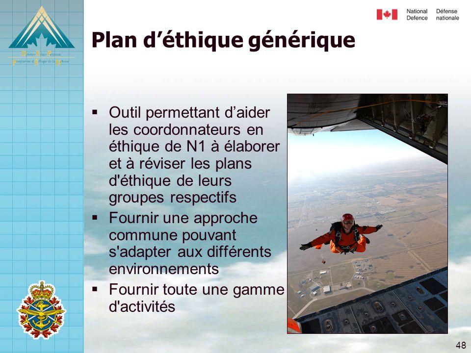 48 Plan d'éthique générique  Outil permettant d'aider les coordonnateurs en éthique de N1 à élaborer et à réviser les plans d éthique de leurs groupes respectifs  Fournir une approche commune pouvant s adapter aux différents environnements  Fournir toute une gamme d activités