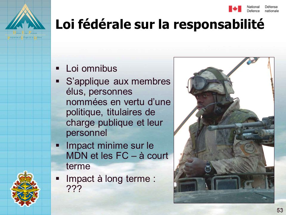 53 Loi fédérale sur la responsabilité  Loi omnibus  S'applique aux membres élus, personnes nommées en vertu d'une politique, titulaires de charge pu