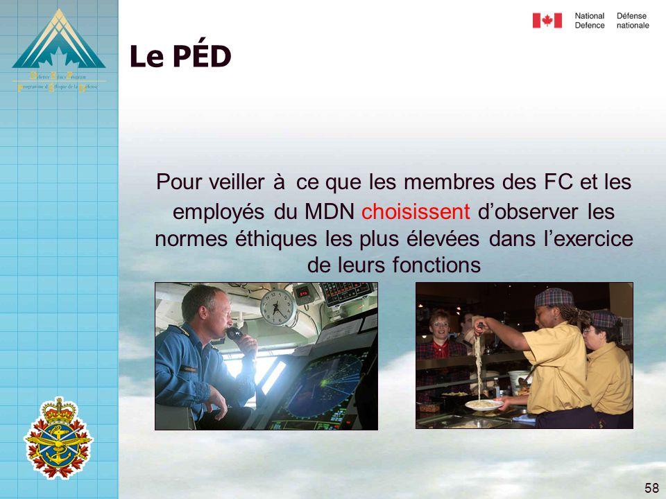 58 Le PÉD Pour veiller à ce que les membres des FC et les employés du MDN choisissent d'observer les normes éthiques les plus élevées dans l'exercice