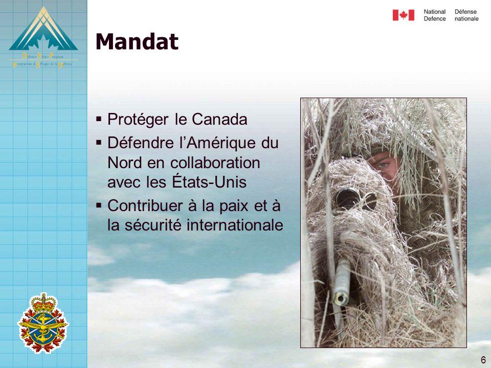 6 Mandat  Protéger le Canada  Défendre l'Amérique du Nord en collaboration avec les États-Unis  Contribuer à la paix et à la sécurité internationale