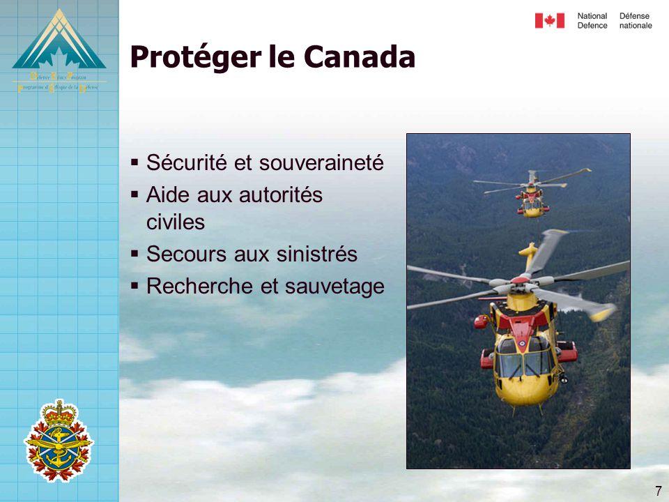7 Protéger le Canada  Sécurité et souveraineté  Aide aux autorités civiles  Secours aux sinistrés  Recherche et sauvetage