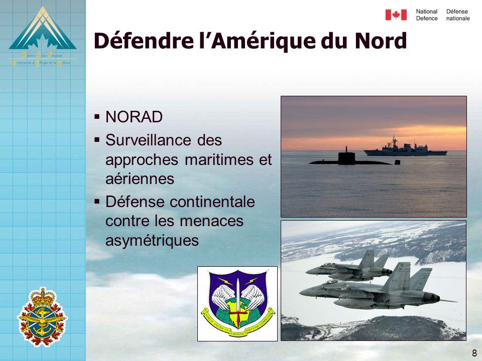 8 Défendre l'Amérique du Nord  NORAD  Surveillance des approches maritimes et aériennes  Défense continentale contre les menaces asymétriques