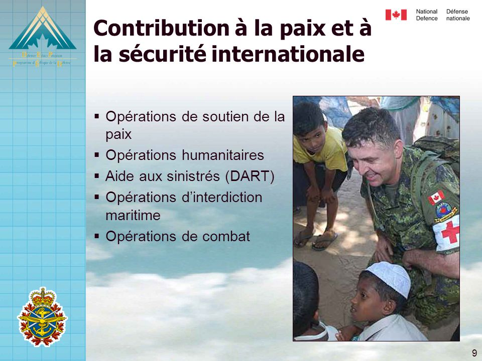 9 Contribution à la paix et à la sécurité internationale  Opérations de soutien de la paix  Opérations humanitaires  Aide aux sinistrés (DART)  Opérations d'interdiction maritime  Opérations de combat