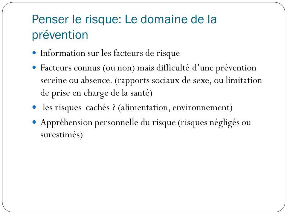 Penser le risque: Le domaine de la prévention  Information sur les facteurs de risque  Facteurs connus (ou non) mais difficulté d'une prévention sereine ou absence.