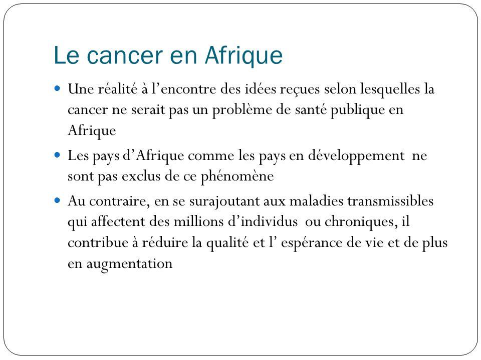 Le cancer en Afrique  Une réalité à l'encontre des idées reçues selon lesquelles la cancer ne serait pas un problème de santé publique en Afrique  Les pays d'Afrique comme les pays en développement ne sont pas exclus de ce phénomène  Au contraire, en se surajoutant aux maladies transmissibles qui affectent des millions d'individus ou chroniques, il contribue à réduire la qualité et l' espérance de vie et de plus en augmentation