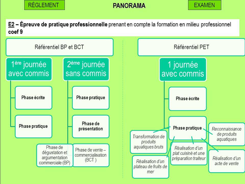 RÉGLEMENTEXAMENPANORAMA E2 – Épreuve de pratique professionnelle prenant en compte la formation en milieu professionnel coef 9 1 ère journée avec comm