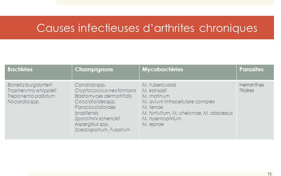 15 Causes infectieuses d'arthrites chroniques BactériesChampignonsMycobactériesParasites Borrelia burgdorferii Tropheryma whippleii Treponema pallidum