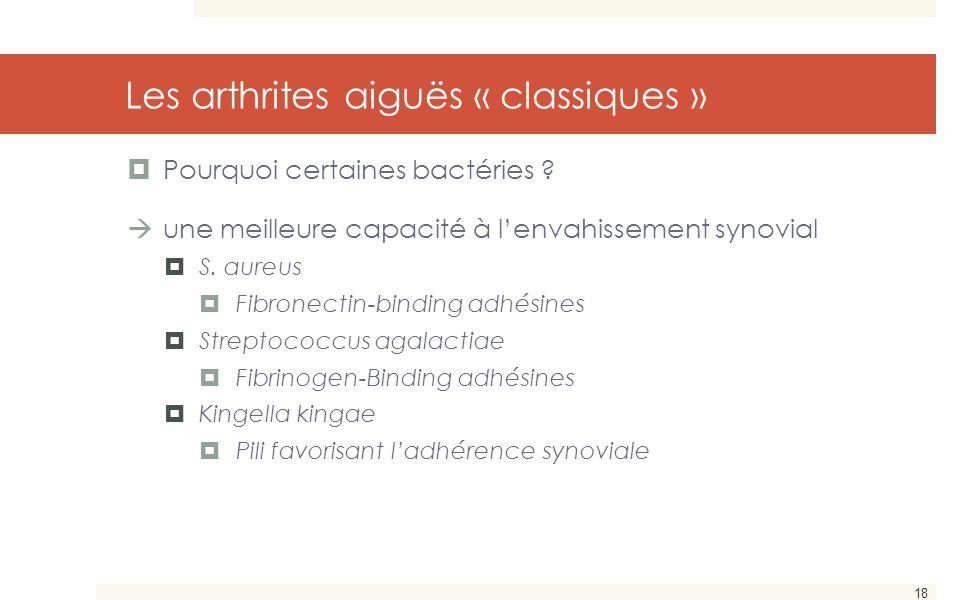 18 Les arthrites aiguës « classiques »  Pourquoi certaines bactéries ?  une meilleure capacité à l'envahissement synovial  S. aureus  Fibronectin-