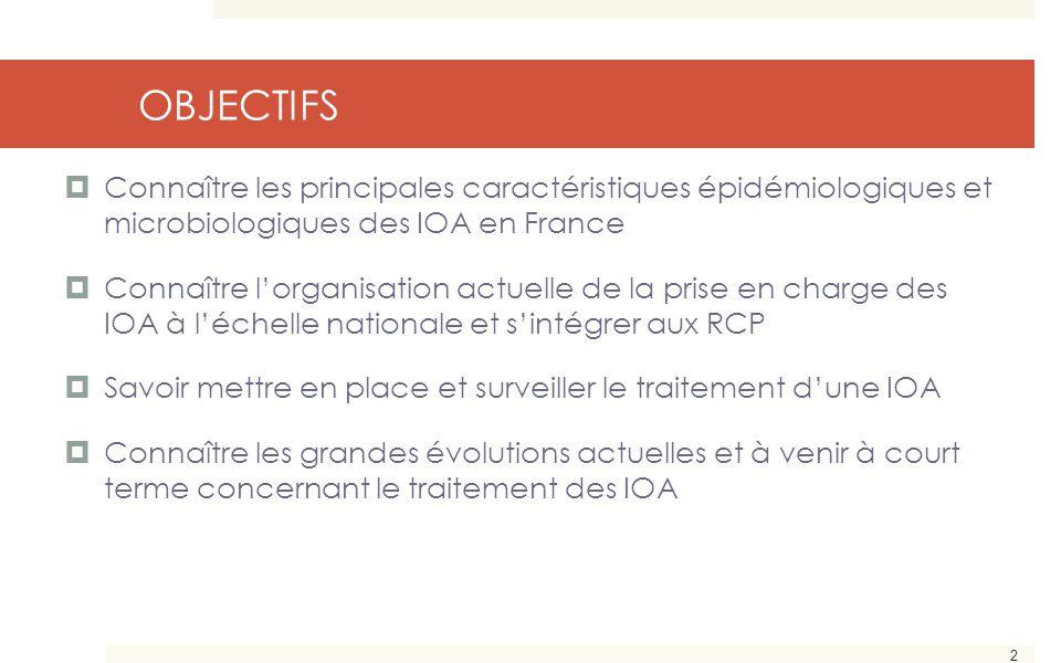 2 OBJECTIFS  Connaître les principales caractéristiques épidémiologiques et microbiologiques des IOA en France  Connaître l'organisation actuelle de