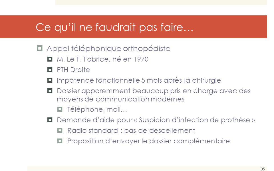 35 Ce qu'il ne faudrait pas faire…  Appel téléphonique orthopédiste  M. Le F. Fabrice, né en 1970  PTH Droite  Impotence fonctionnelle 5 mois aprè