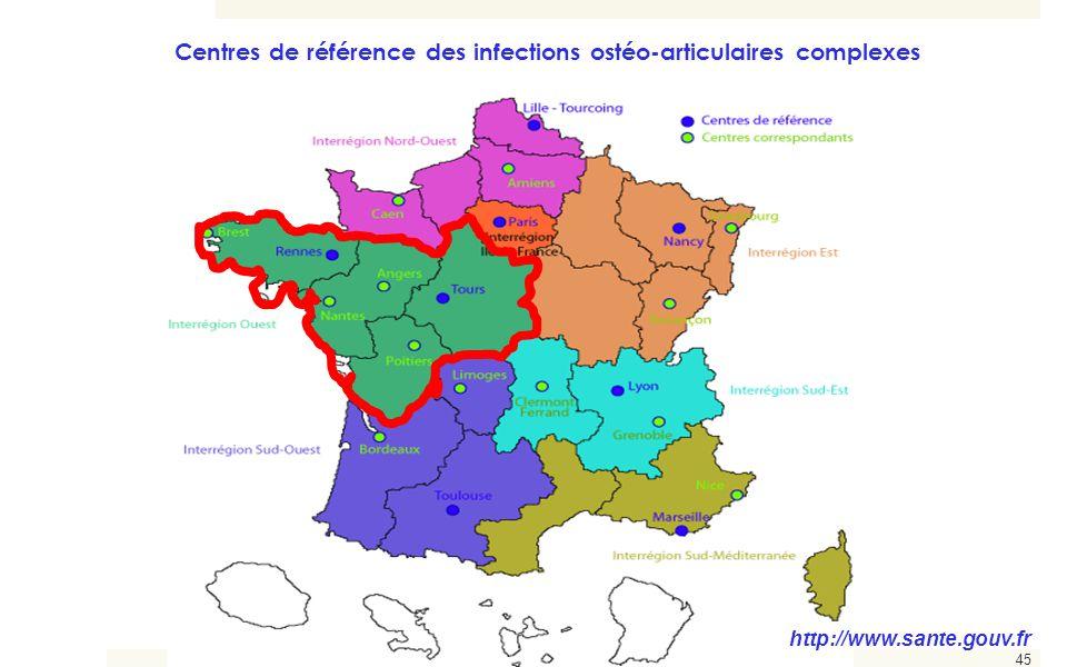 45 http://www.sante.gouv.fr Centres de référence des infections ostéo-articulaires complexes