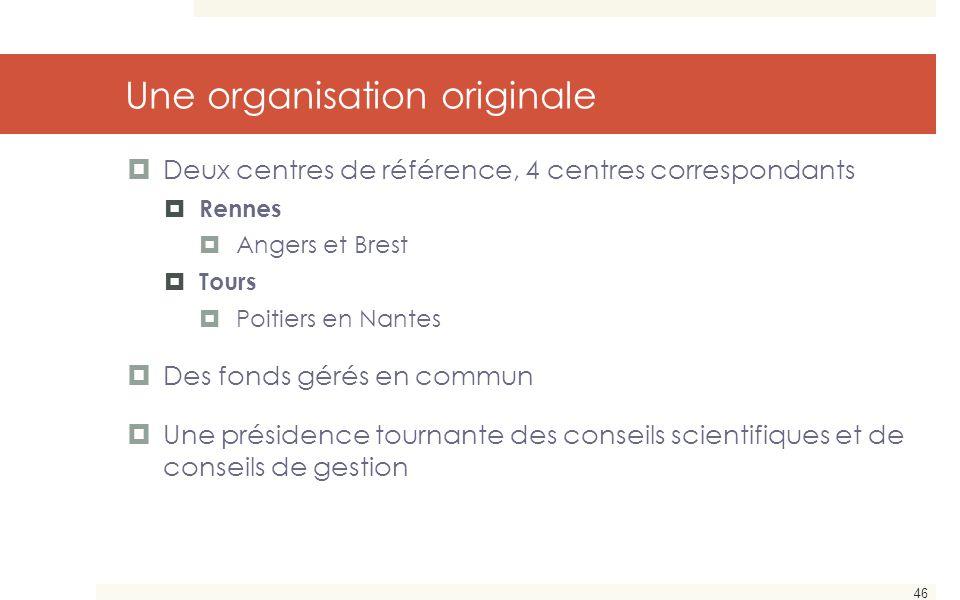 46 Une organisation originale  Deux centres de référence, 4 centres correspondants  Rennes  Angers et Brest  Tours  Poitiers en Nantes  Des fond