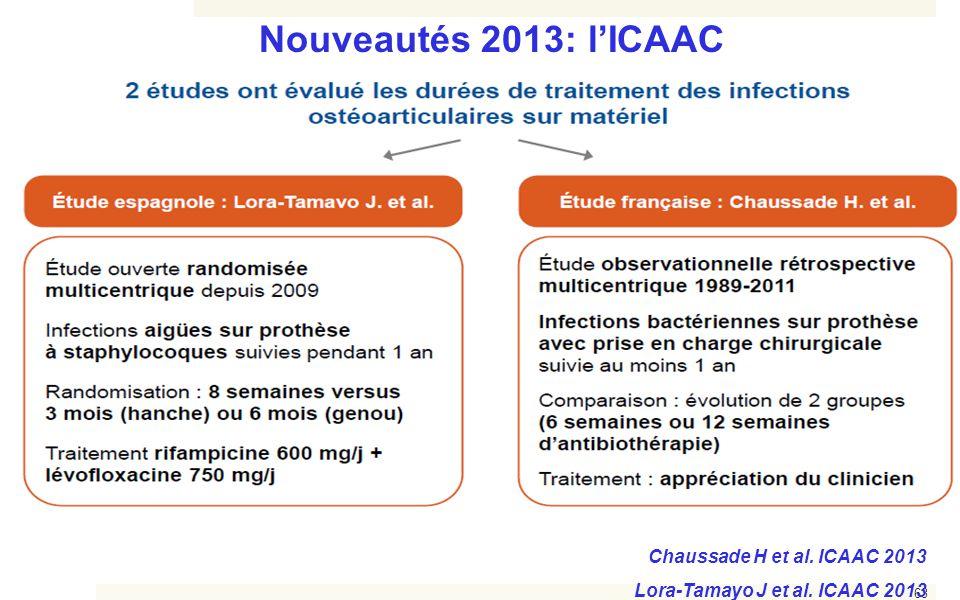 63 Nouveautés 2013: l'ICAAC Chaussade H et al. ICAAC 2013 Lora-Tamayo J et al. ICAAC 2013