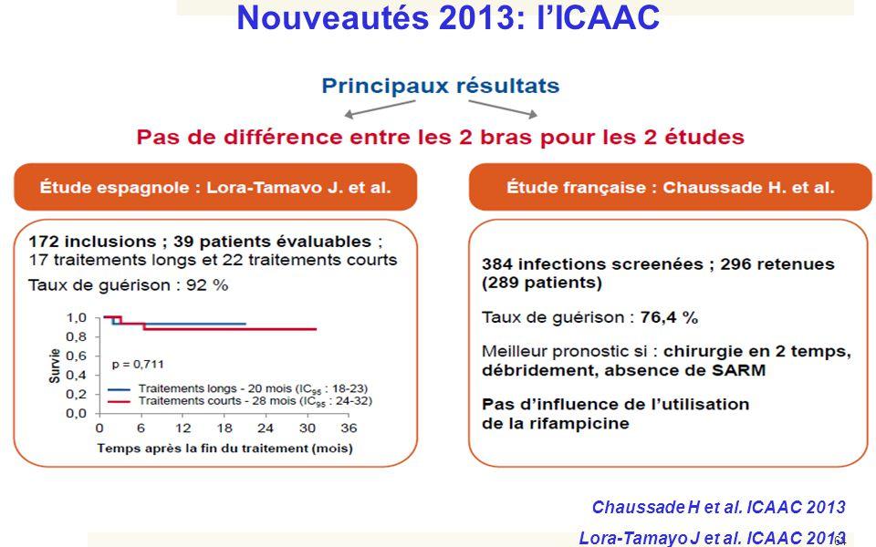 64 Nouveautés 2013: l'ICAAC Chaussade H et al. ICAAC 2013 Lora-Tamayo J et al. ICAAC 2013