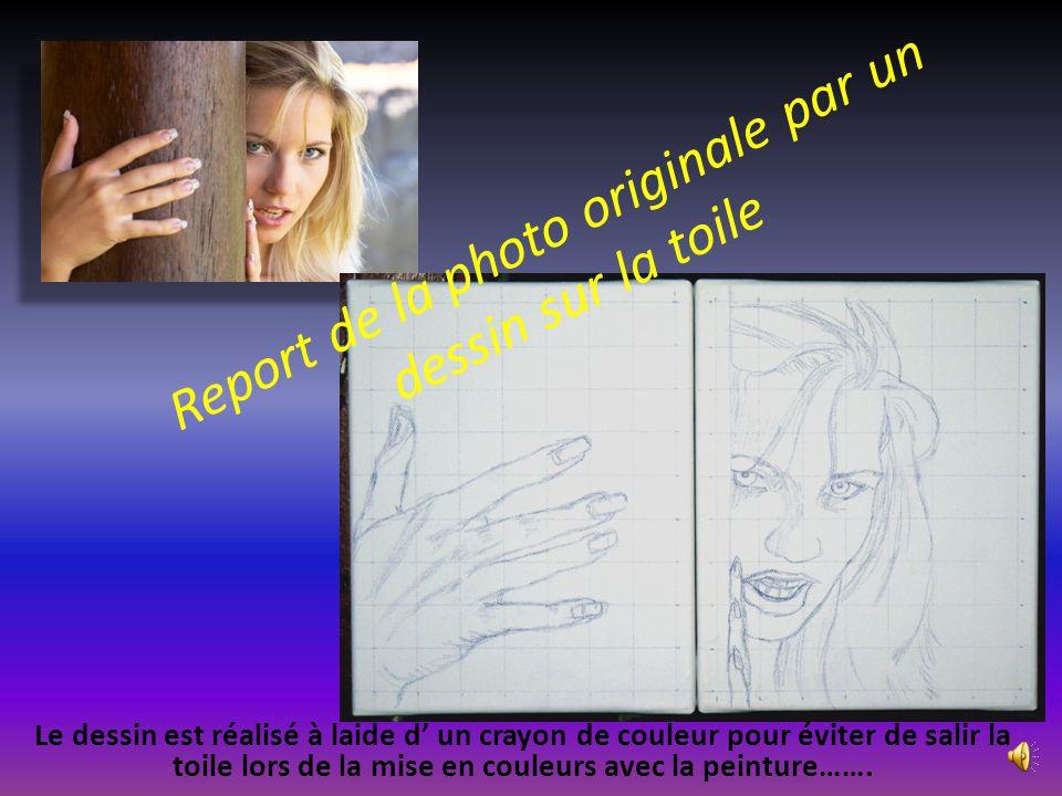 Report de la photo originale par un dessin sur la toile Le dessin est réalisé à laide d' un crayon de couleur pour éviter de salir la toile lors de la mise en couleurs avec la peinture…….