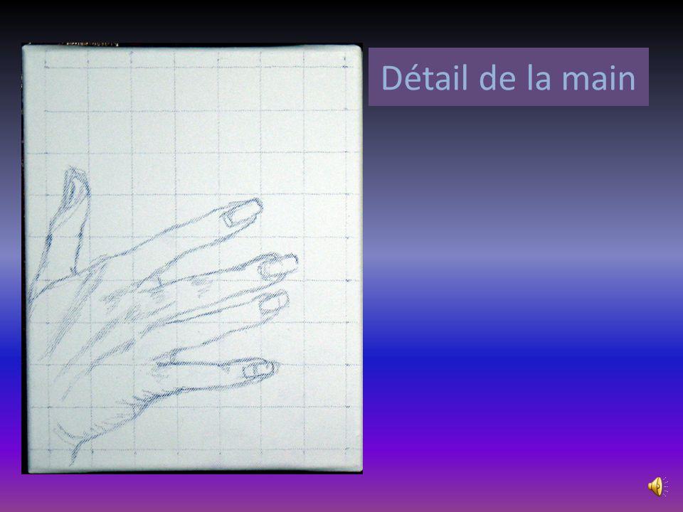 Détail du dessin reporté. La méthode du quadrillage est adoptée afin de préserver les proportions de la photo