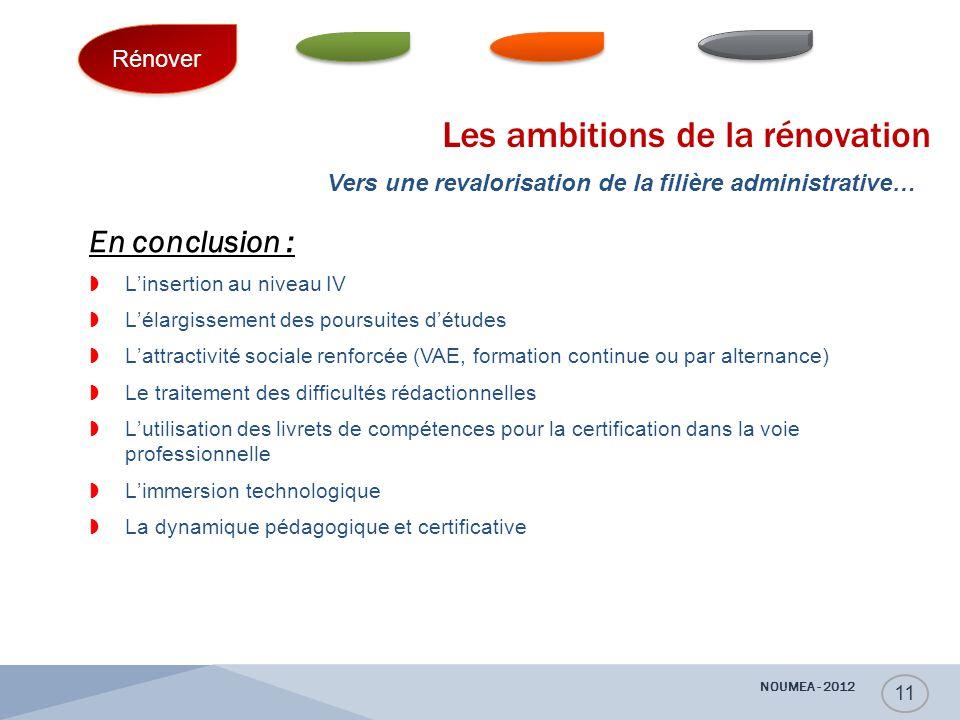 Les ambitions de la rénovation En conclusion :  L'insertion au niveau IV  L'élargissement des poursuites d'études  L'attractivité sociale renforcée