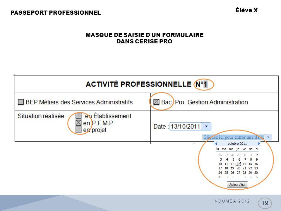 NOUMEA 2012 19 PASSEPORT PROFESSIONNEL Élève X MASQUE DE SAISIE D'UN FORMULAIRE DANS CERISE PRO