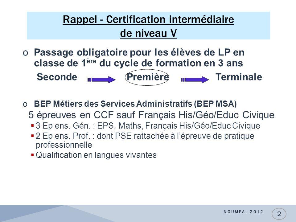 Rappel - Certification intermédiaire de niveau V NOUMEA - 2012 2 oPassage obligatoire pour les élèves de LP en classe de 1 ère du cycle de formation e
