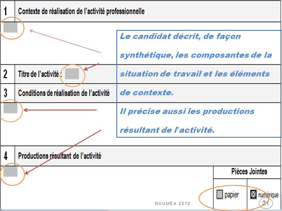 NOUMEA 2012 21 Le candidat décrit, de façon synthétique, les composantes de la situation de travail et les éléments de contexte. Il précise aussi les