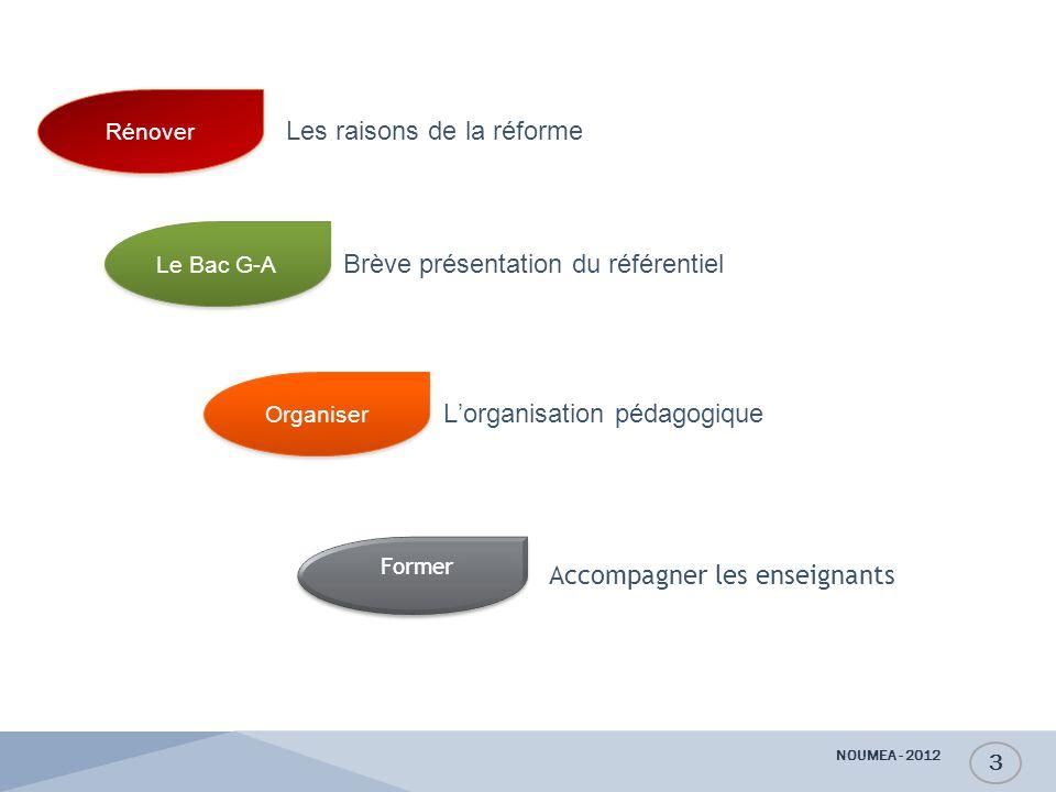 Le Bac G-A Brève présentation du référentiel Organiser L'organisation pédagogique Accompagner les enseignants Rénover Les raisons de la réforme NOUMEA