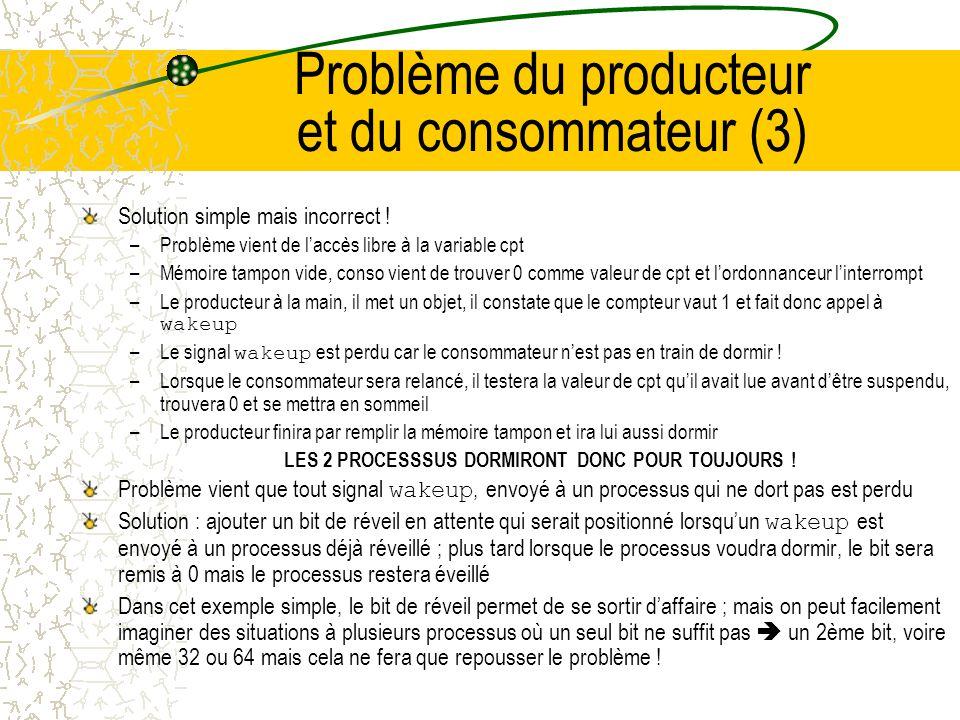 Problème du producteur et du consommateur (2) #define N 100/* Taille du tampon */ int cpt=0;/* nb objets dans le tampon */ void producteur(void) { for