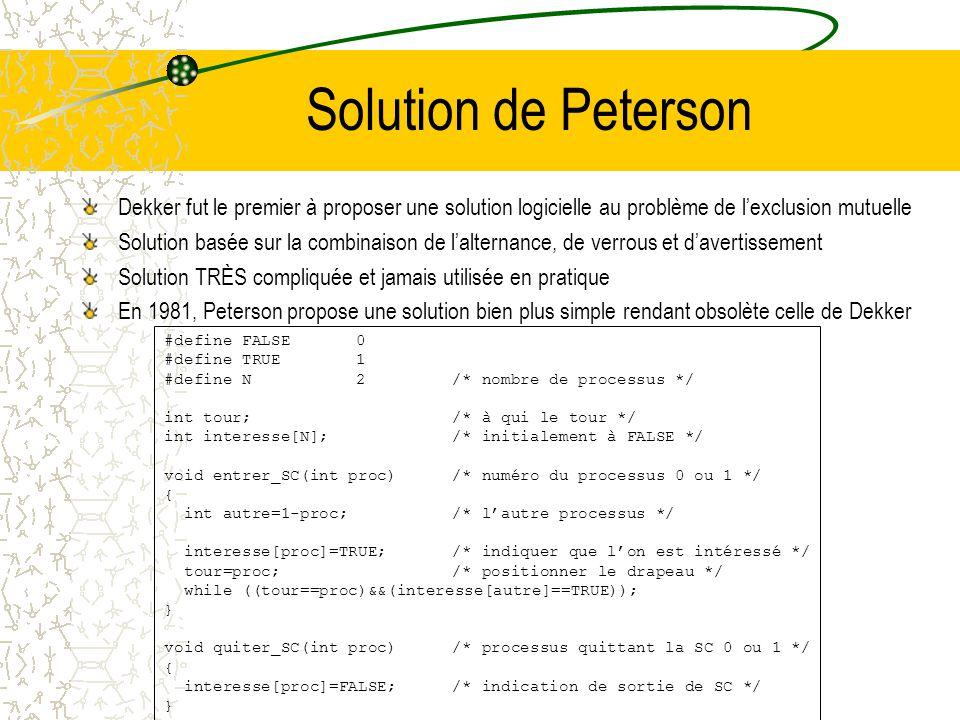 L'alternance PROCESSUS A : for(;;) { while (tour); /* attente */ SC tour=1; SNC /*(section non critique)*/ } PROCESSUS B : for(;;) { while (!tour); /*