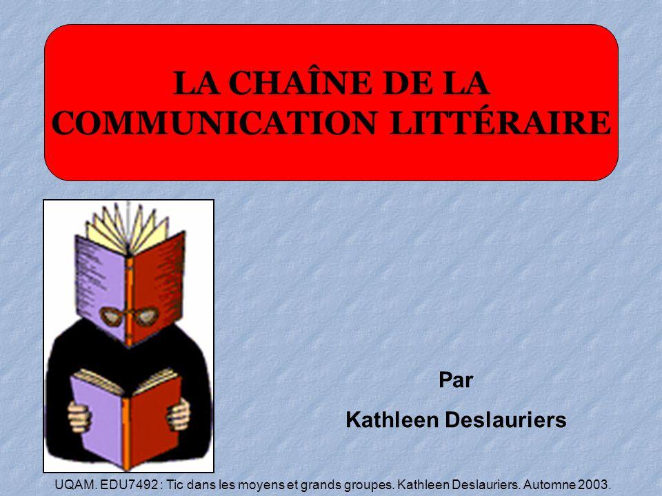 UQAM. EDU7492 : Tic dans les moyens et grands groupes. Kathleen Deslauriers. Automne 2003. Par Kathleen Deslauriers LA CHAÎNE DE LA COMMUNICATION LITT