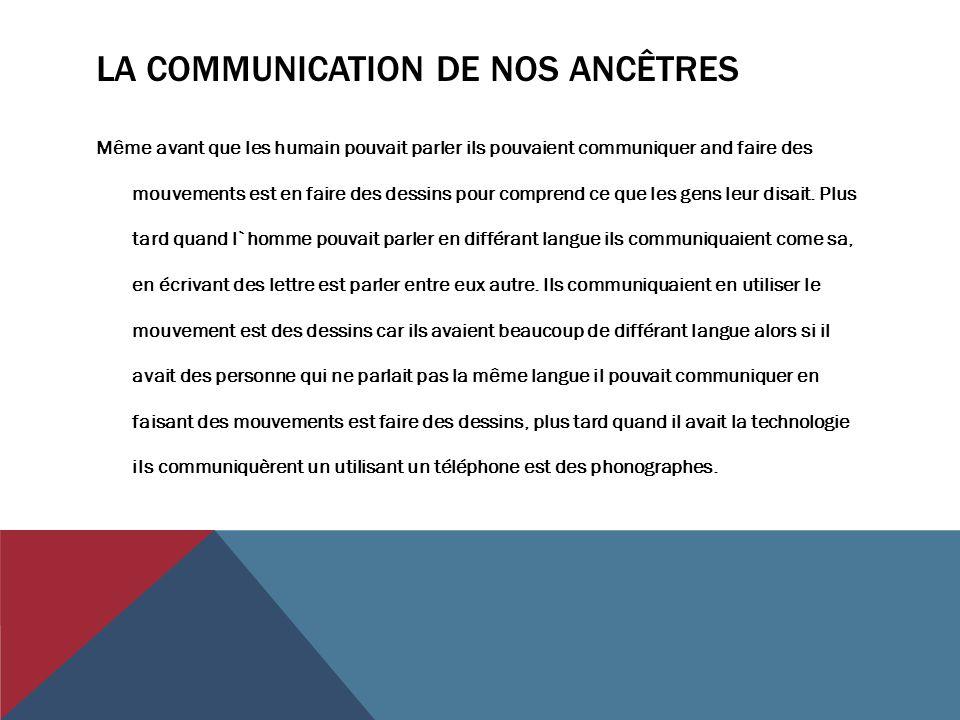 LA COMMUNICATION DE NOS ANCÊTRES Même avant que les humain pouvait parler ils pouvaient communiquer and faire des mouvements est en faire des dessins