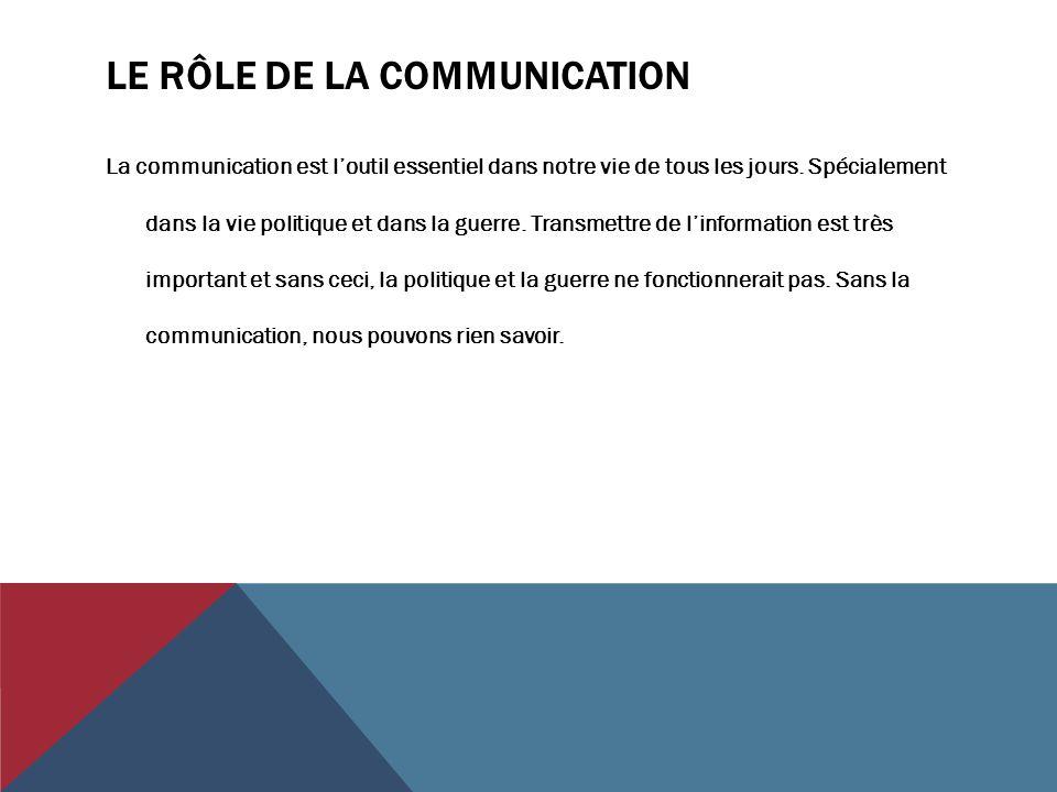 LE RÔLE DE LA COMMUNICATION La communication est l'outil essentiel dans notre vie de tous les jours. Spécialement dans la vie politique et dans la gue