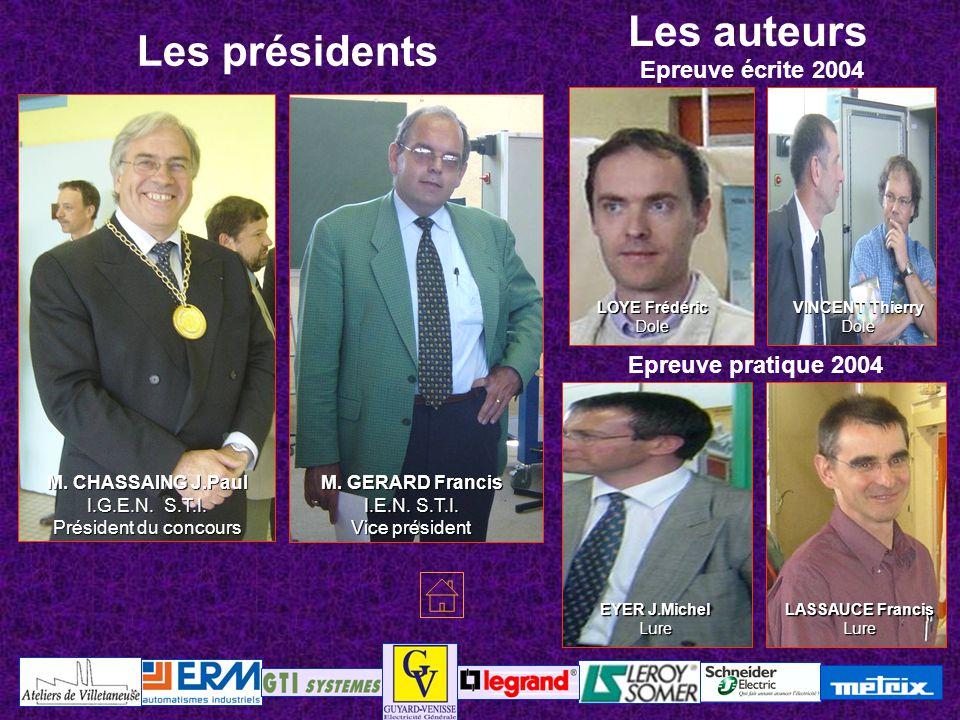 LOYE Frédéric Dole Epreuve écrite 2004 Epreuve pratique 2004 M. CHASSAING J.Paul I.G.E.N. S.T.I. Président du concours M. GERARD Francis I.E.N. S.T.I.