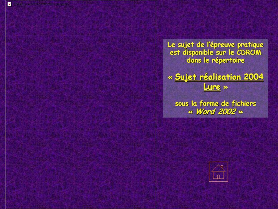 70200 LURE – Haute Saône Le sujet de l'épreuve pratique est disponible sur le CDROM dans le répertoire « Sujet réalisation 2004 Lure » sous la forme d