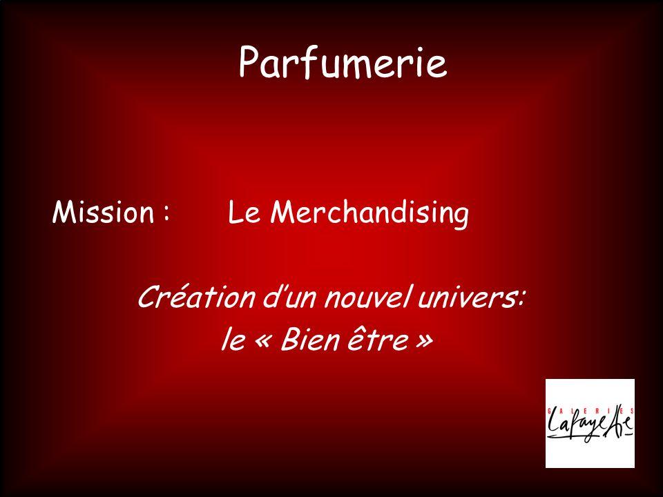 Parfumerie Mission : Le Merchandising Création d'un nouvel univers: le « Bien être »