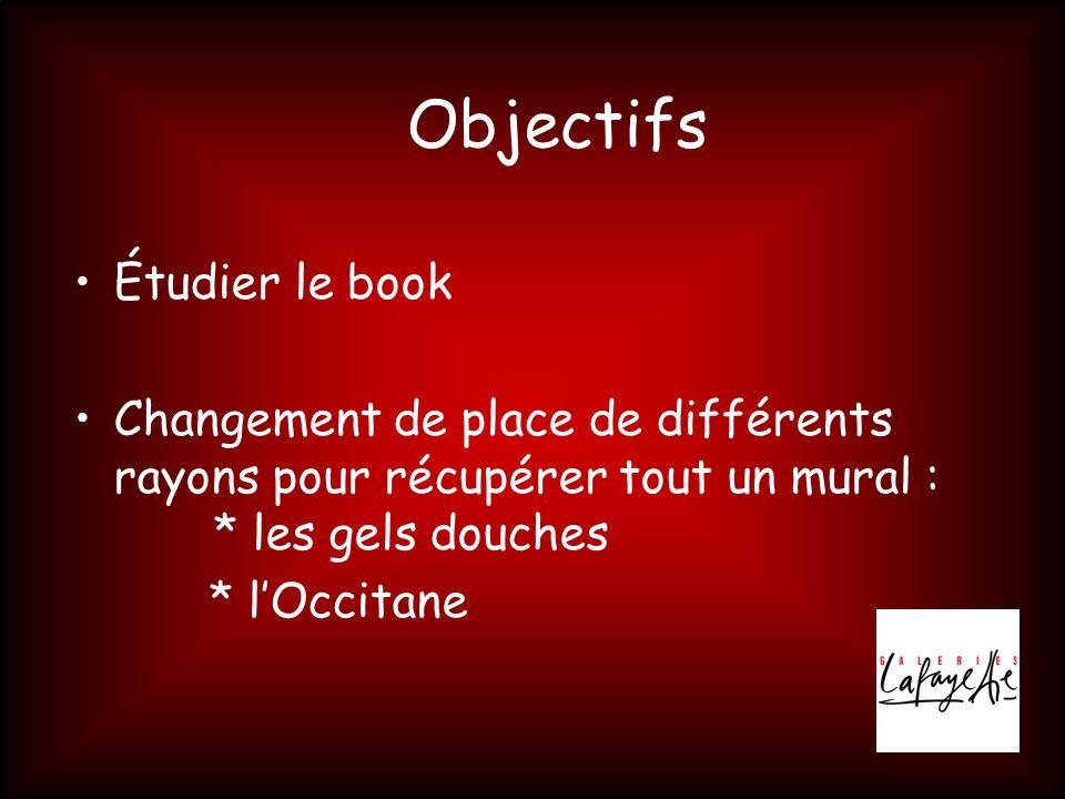 Objectifs •Étudier le book •Changement de place de différents rayons pour récupérer tout un mural : * les gels douches * l'Occitane