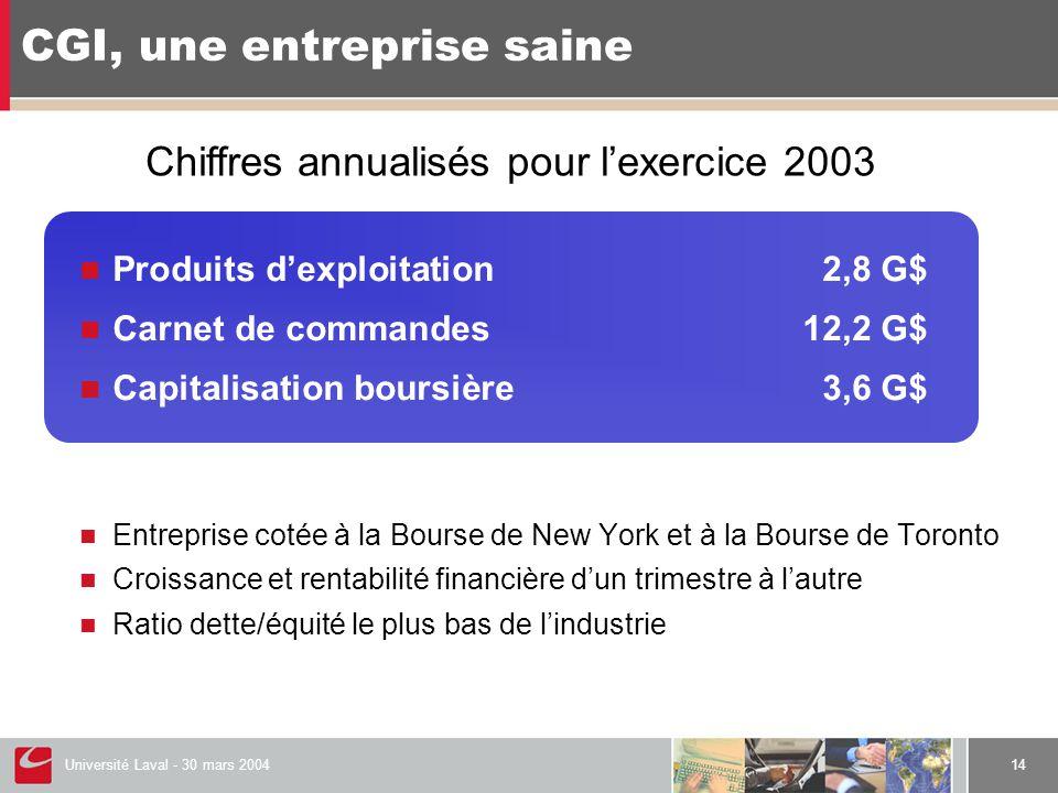 Université Laval - 30 mars 200414 CGI, une entreprise saine  Produits d'exploitation2,8 G$  Carnet de commandes12,2 G$  Capitalisation boursière 3,
