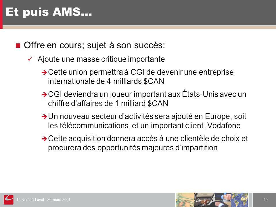 Université Laval - 30 mars 200415 Et puis AMS…  Offre en cours; sujet à son succès:  Ajoute une masse critique importante  Cette union permettra à