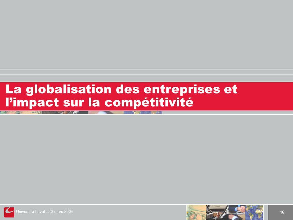Université Laval - 30 mars 2004 16 La globalisation des entreprises et l'impact sur la compétitivité