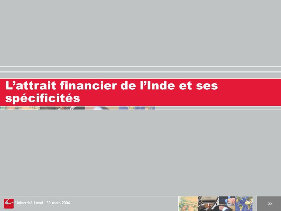 Université Laval - 30 mars 2004 22 L'attrait financier de l'Inde et ses spécificités