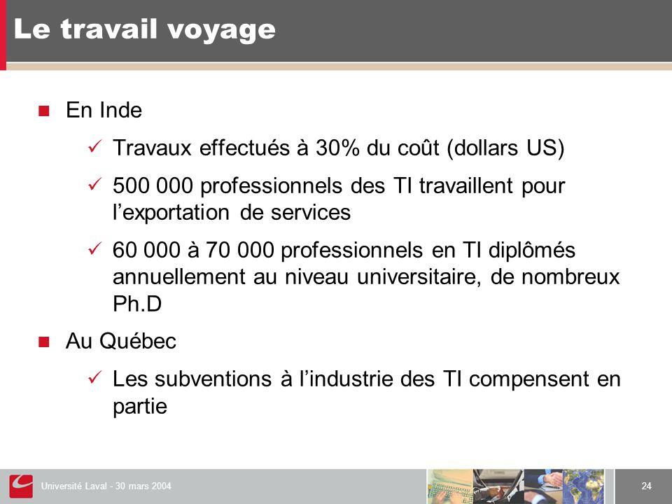 Université Laval - 30 mars 200424  En Inde  Travaux effectués à 30% du coût (dollars US)  500 000 professionnels des TI travaillent pour l'exportation de services  60 000 à 70 000 professionnels en TI diplômés annuellement au niveau universitaire, de nombreux Ph.D  Au Québec  Les subventions à l'industrie des TI compensent en partie Le travail voyage